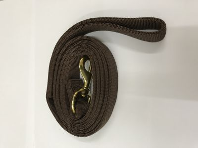 DOG TRAINING NYLON LEASH 25MM X 6 FEET 2 LAYERS (FLAT) LARGE BREED BROWN