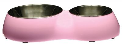 73757 Dogit Double Diner with Stainless Steel Inserts 1X350ml and 1x160ml Pink