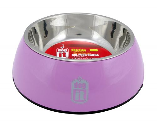 73553 Dogit 2 in 1 Durable Bowl Large Pink 1600ml with Stainless Steel Insert