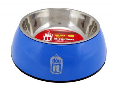 73542 Dogit 2 in 1 Durable Bowl Small Blue 350ml with Stainless Steel Insert