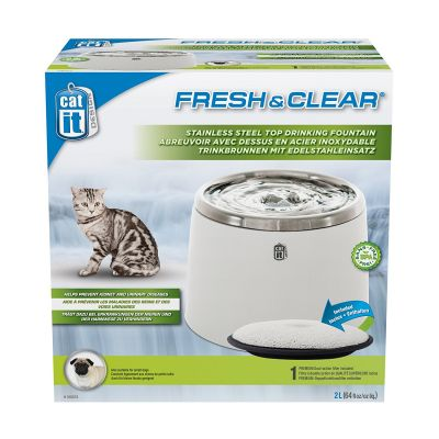 Catit Stainless Steel Top Fountain White 2L