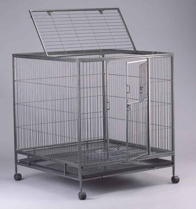 Steel Dog Cage D325 with 1 plastic tray and 4 castor wheels