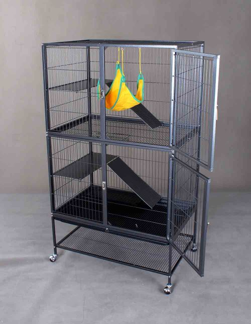 Steel Cat Cage D670 with Solid Platform and 2 Doors