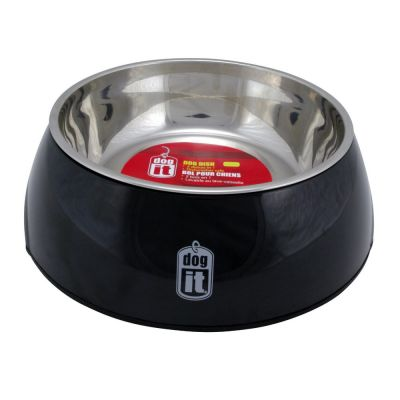 73544 Dogit 2 in 1 Durable Bowl Small Black 350ml with Stainless Steel Insert