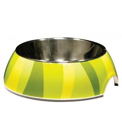 54526 Catit 2 In 1 Style Bowl with Stainless Steel Insert Extra Small 160ml Green Zebra