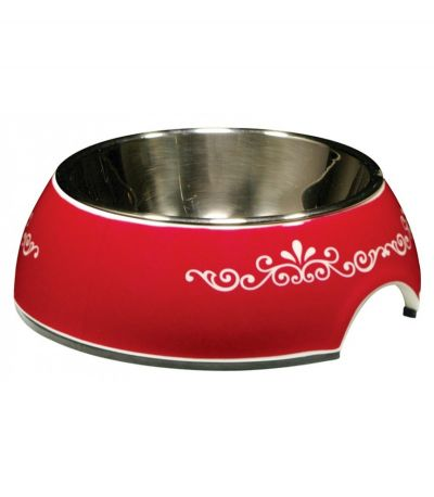 54527 Catit 2 In 1 Style Bowl with Stainless Steel Insert Extra Small 160ml Red Swirl