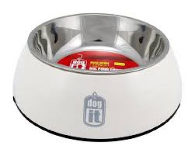 73545 Dogit 2 in 1 Durable Bowl Small White 350ml with Stainless Steel Insert