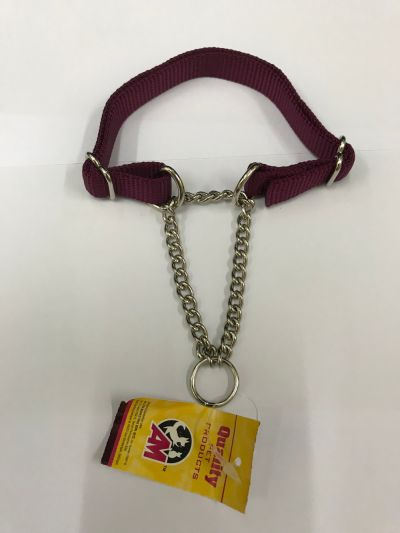 NYLON TRAINING CHAIN FOR MEDIUM DOG 20MM WIDTH 14IN TO 22IN MAROON
